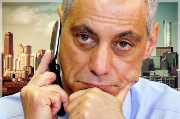 Chicago Mayor Rahm Emanuel calls potential voters at a phone bank on election day in Chicago